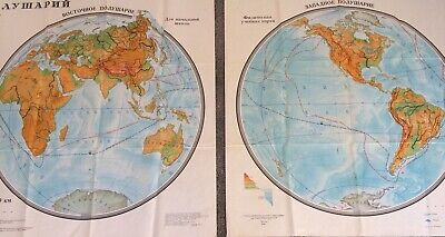 Huge Pair Of Vintage Soviet Government Globe Maps Of The World Each 100x91cm