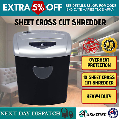 PENDO Cross Cut 10 Sheets Paper Shredder CDs Credit Cards Home 21L Office Combo