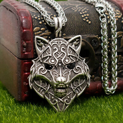 """Norse Viking Wolf Head Animal Pendant Necklace Detailed Facial Pattern 22"""" Chain"""