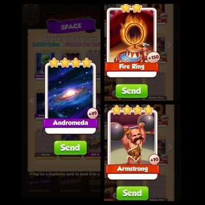 Andromeda & Amstrong & Fire Ring Coin master cards. Rare cards pack.