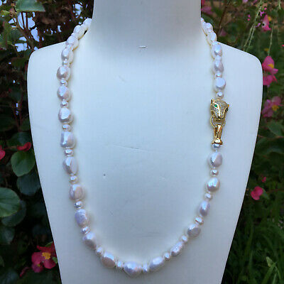 125 10-12mm freshwater pearl necklace white Baroque AAAA 55cm Nice leopard clasp