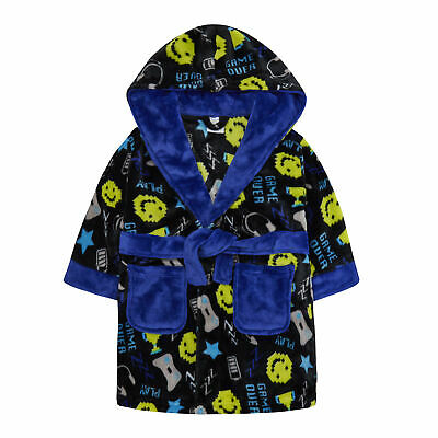 Boys Kids Gaming Print Hooded Dressing Gown Robe Novelty Computer Gamer Comfy