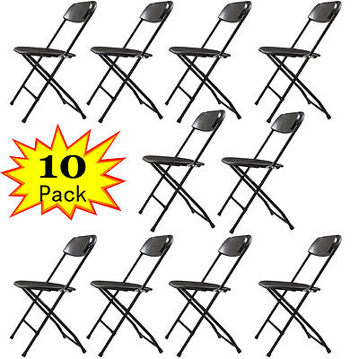 Black (10 PACK) Commercial Patio Outdoor Beach Plastic Folding Chairs