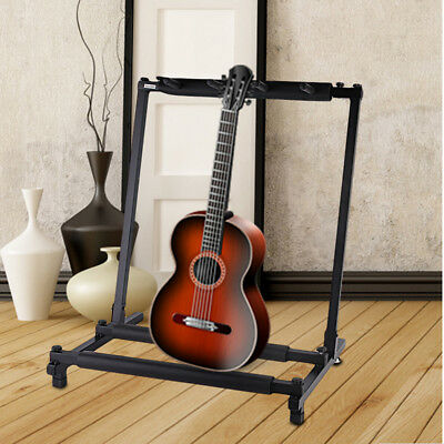 Folding 3-Way Guitar Rack Stand For Multiple Guitars Electric Acoustic Bass UK
