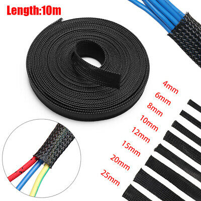 10M Black Insulated Braid Sleeving Cable Organizer Nylon Sleeve Wire Protection