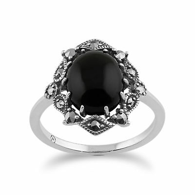 925 Sterling Silver Art Nouveau Onyx & Marcasite Ring