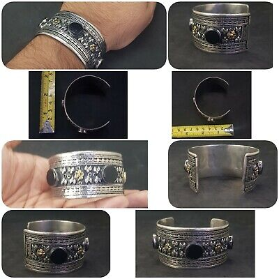 Silver plated And Brass Afghani Bangle With Black Agate Stone #761