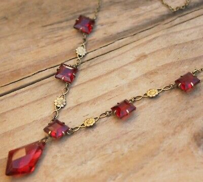 Vintage Necklace Beads Cranberry Glass Red Pink Jewellery Antique Art Deco