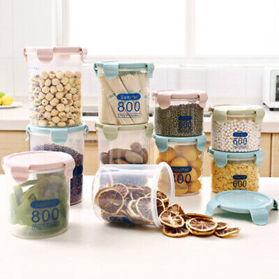 Plastic Kitchen Food Storage Box Grain Snacks Sealed Jar Cans Canister Box Hot