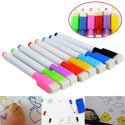 8Pcs Multicolor Whiteboard Marker Pens Dry Erase Wipe Magnetic Lid Fine Point