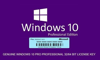 Win 10 Windows  Pro 64 Bit 32 Key License Genuine Activation Original microsoft