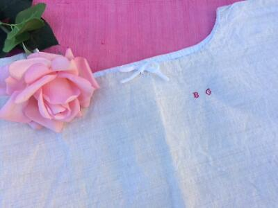 Antique French Homespun Linen Chemise - B G Unused In Excellent Condition