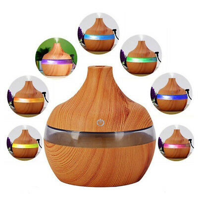 300ML USB Humidifier Aromatherapy Wood Grain LED Light Electric Diffuser JP