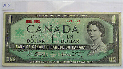 1967 CANADA CENTENNIAL 1 DOLLAR BANKNOTE - A 5 - combined shipping
