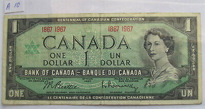 1967 CANADA CENTENNIAL 1 DOLLAR BANKNOTE - A 10 - combined shipping