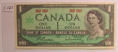 1967 CANADA CENTENNIAL 1 DOLLAR BANKNOTE - C 1 2 5 - combined shipping