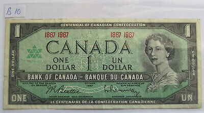 1967 CANADA CENTENNIAL 1 DOLLAR BANKNOTE - B 10 - combined shipping