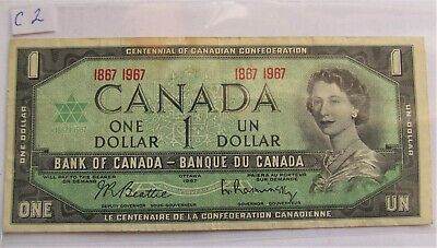 1967 CANADA CENTENNIAL 1 DOLLAR BANKNOTE - C 2 - combined shipping