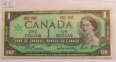 1967 CANADA CENTENNIAL 1 DOLLAR BANKNOTE - C 5 - combined shipping