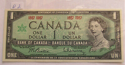 1967 CANADA CENTENNIAL 1 DOLLAR BANKNOTE - D 2 - combined shipping