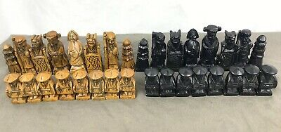 Antique Vintage Hand Carved Stone Asian Oriental Figures Chess Set RARE