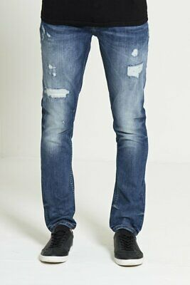Mens Dml (Icarus) Slim Fit Mid Wash Ripped Jeans