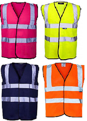 Mens Ladies Unisex Hi Viz 2 Band & Braces Safety Vest Size Small to 12XL
