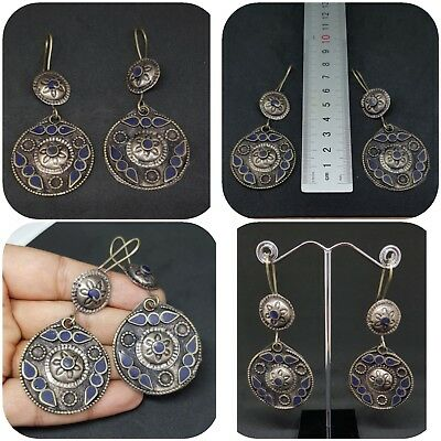 Old Beautiful silver plated lapis lazuli Earrings From Afghanistan