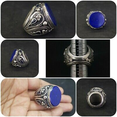 Huge Afghan Silver Plated Unique Design Lapis lazuli Stone Beautiful Ring #209