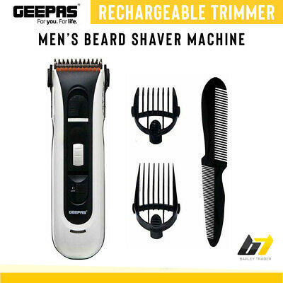 Geepas Mens Rechargeable Cordless Beard Hair Shaver Machine Clipper Trimmer