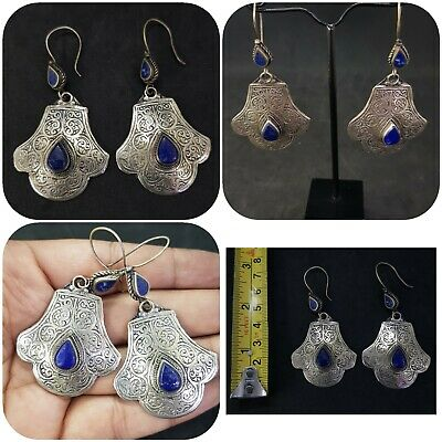 Beautiful Afghan Silver Plated Earring with lapis lazuli stone #36G
