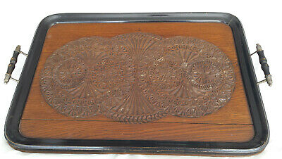 """Antique lge intricately carved serving tray 24½"""" x 16"""" poss Asian /Oriental? A/F"""