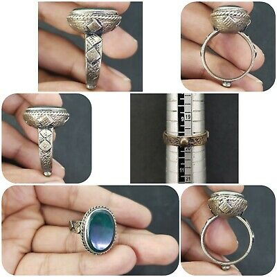 Afghan Beautiful Silver Plated Rare Ring with Green Agate Stone #12G
