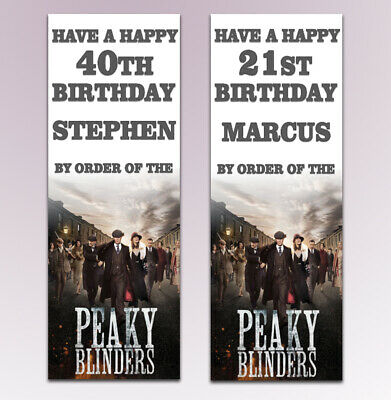 2 Personalised Peaky Blinders Birthday Banners Any Name Any Age