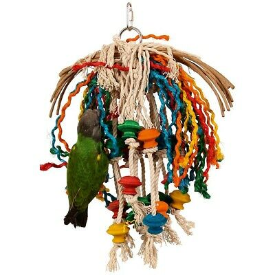 Toopet - Preenable Parrot Toy - Irresistible Chewable Wood, Rope, Cotton