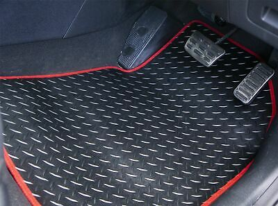 Red Trim Tailored Rubber Car Mats for Peugeot Partner Tepee 08> 3 +2 Clips