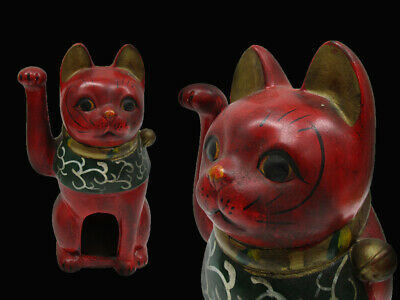 JAPANESE POTTERY Red Lucky CAT Antique RARE BELL ART Fortune Japan Old 005m