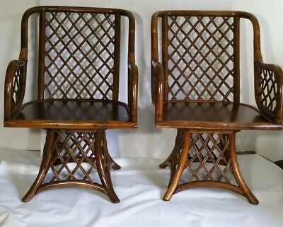 Vintage Mid Century Pair of Bamboo/Cane Armchairs (Swivel Chairs) MCM Regency