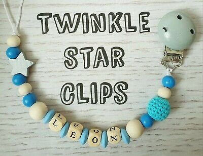 Personalised Wooden Dummy Clip Star Crochet Boy Gift Pacifier Baby Blue
