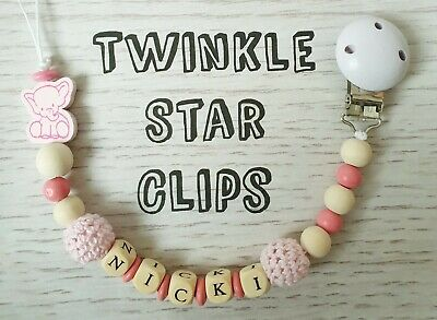 Personalised Wooden Dummy Clip Pink Baby Girl Elephant Cute Pacifier Crochet
