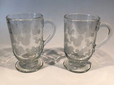 Set of 2 Disney Mickey Mouse Clear Glass Coffee Mug Cup Silhouette Head Etched