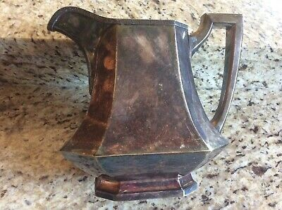Antique / Vintage Ornate Silver Plated Pitcher With Handle ? Maker Stamp