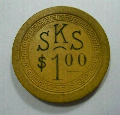 SKS Illegal Casino Poker Chip Obsolete Unknown Location Cool Graphic Small Key