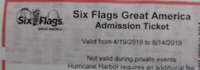 Six Flags 1 day admission pass. Good thru Sept