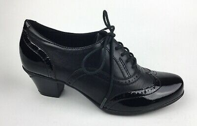 Earth Womens Black Lace Up Heels Leather Patent Leather Sz US 6.5