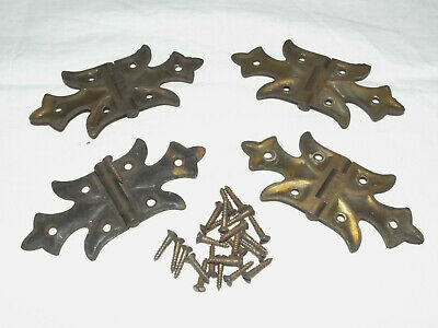 Lot of 4 Vintage Antique Brass or ? Flush Mount Butterfly Cabinet Door Hinges