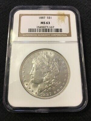 1887 Morgan Dollar Ngc Ms-63 - Uncirculated - Certified Slab - Silver Dollar - $