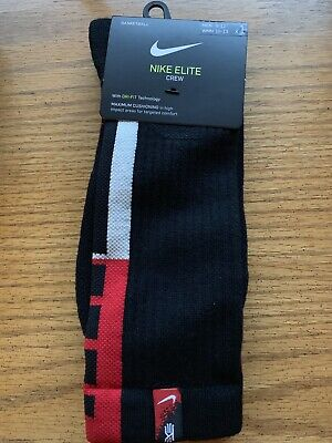 93bac935ba1389 Nike Elite Cushioned Crew Drifit Socks, Kyrie, Black Red Sx7622-010 Size L