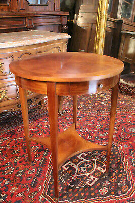Pedestal Table Circular Mahogany Tablet D'inside Drawer Style Louis