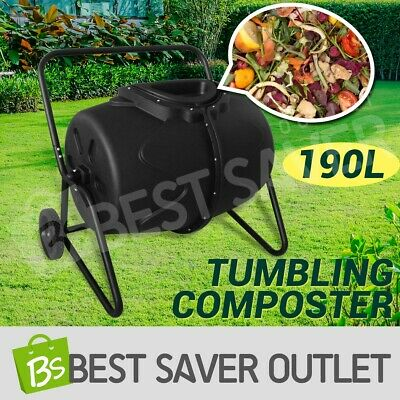 190L Compost Aerated Waste Food Tumbler Bin Garden Composter Recycling Food